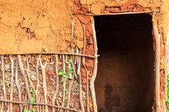 Door to traditional, african house royalty free stock images