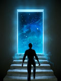 Door to universe. Man climbing a staircase leading to a door over the universe. Digital illustration Stock Photography