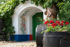 Door to wine cellar. Colorful painted, decorative archway to the door of a wine cellar Stock Photography