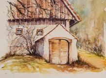 Wine cellar watercolors painted Royalty Free Stock Photo