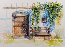 Wine cellar watercolors painted royalty free stock photos