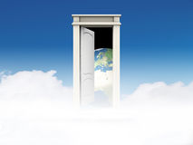 Door to the world. Open door to a new world or a parallel universe Stock Photography