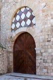 Door in the tower of Alvar Fanez, Guadalajara, Spain. View of the door in the tower of Alvar Fanez, Guadalajara, Spain Stock Photos