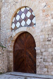 Door in the tower of Alvar Fanez, Guadalajara, Spain Stock Photos