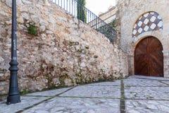 Door in the tower of Alvar Fanez, Guadalajara, Spain Stock Photo