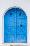 Door of traditional house in Sidi Bou Said in Tunisia Royalty Free Stock Image