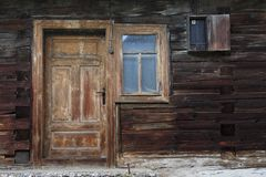 Chlebnice village in Orva region. Door of a traditional log cabin, Orava region, Slovakia royalty free stock images