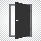 Door vector icon. Exit icon. Open door illustration. Simple busi. Ness concept pictogram on isolated background Stock Images
