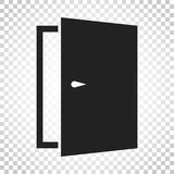 Door vector icon. Exit icon. Open door illustration. Simple busi Stock Photos