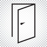 Door vector icon in line style. Exit icon. Open door illustratio. N. Simple business concept pictogram on isolated background Stock Images