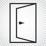 Door vector icon in line style. Exit icon. Open door illustratio. N. Simple business concept pictogram on isolated background Stock Photography