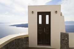 Door with a view. A door in the village of Thira, Santorini. View of the caldera Stock Photography