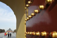 Door and view of the Forbidden City Stock Image