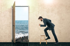 Door with view and rushing businessman stock photography