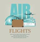 Door vliegtuig rond de wereld Stock Afbeeldingen