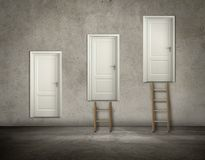 Door on wall in hierarchy Stock Images