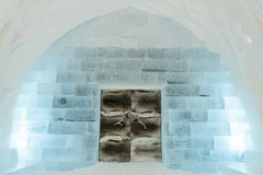 Door and wall in Ice Hotel Stock Photos