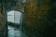 Door and wall with old moss in baiona Royalty Free Stock Images