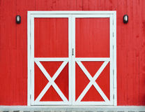 Door and wall wooden red Stock Photography