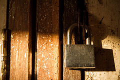 The door was locked with a padlock stainless steel. Stock Images