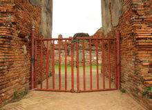 Door of Wat Mahathat Temple. Ayutthaya, Thailand Royalty Free Stock Photos