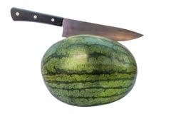 Door Watermeloen op wit met het knippen van weg wordt geïsoleerd die Royalty-vrije Stock Foto's