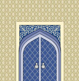 Door way in arabic architectural style.  Islamic design mosque d Stock Photos