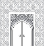 Door way in arabic architectural style.  Islamic design mosque d Royalty Free Stock Image