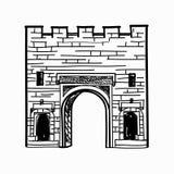 Door way arch gates in fortress wall Doorway Stock Photo