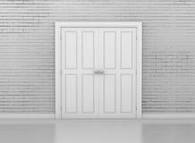 Door. White door and wall interior 3d rendering Royalty Free Stock Photo