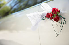 Door of white wedding car Stock Photos