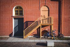 Door, window with arch and stairs stock photos
