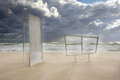 Door and window on empty sand beach Stock Images