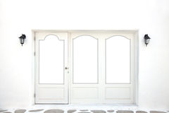 Door and Window frame in Greek style on white back Stock Image