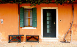 Door and window in front of house building Royalty Free Stock Photos