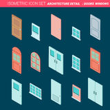 Door and window isometric flat icon vector illustration Stock Photo