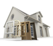 Door and window replacement. A house with a choice of doors and windows royalty free stock image