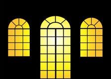 Door and window at sunset. Illustration of door and window at sunset background royalty free illustration
