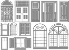 Door and window vector. Set of door and window vector vector illustration