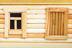 Door and window of wooden log house Stock Images