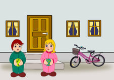 Door, Windows, Bicycle and Children Stock Photography