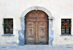 Door and windows of italian church Royalty Free Stock Photography