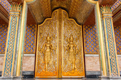 Door woodcarving in temple Royalty Free Stock Images