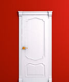 Door wooden white house interior detail. On the red wall 3d model illustration Royalty Free Stock Photos