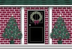 Door Wreath. Illustration of front door with Christmas wreath Stock Images