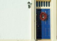 Door with wreath Stock Image