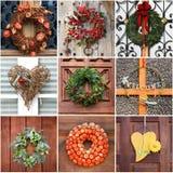 Door Wreath collage Royalty Free Stock Photos
