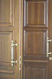 Door with wrought handles. Old door with wrought handles royalty free stock images