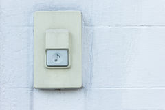 Doorbell,Bell Home on white brick wall background. Rusty doorbell,Bell Home on white brick wall background Royalty Free Stock Photo