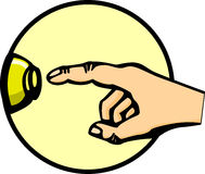 Doorbell button and hand vector illustration Stock Photography
